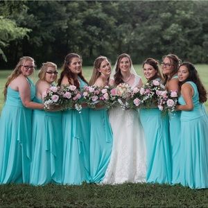 Spa blue David's Bridal bridesmaid dress